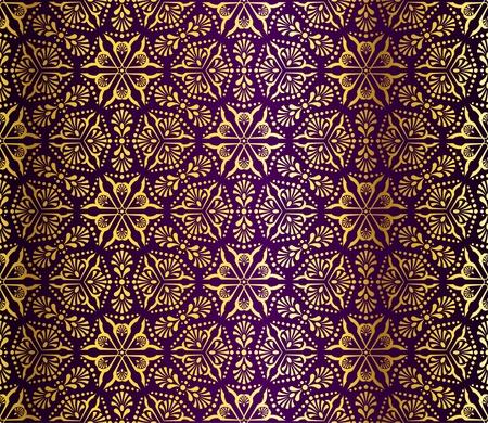 metallic background: Seamless gold on purple pattern inspired by Islamic art.