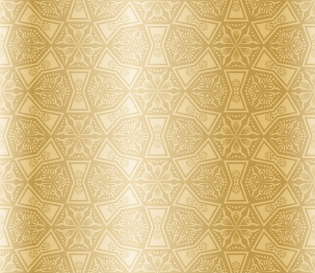 Seamless beige pattern inspired by Islamic art. Vector