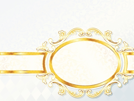 Elegant horizontal white and gold wedding banner.