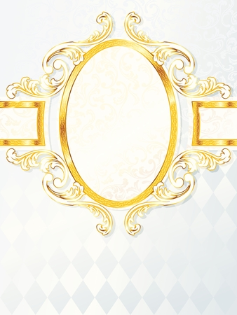 Elegant vertical white and gold wedding banner.  Illustration