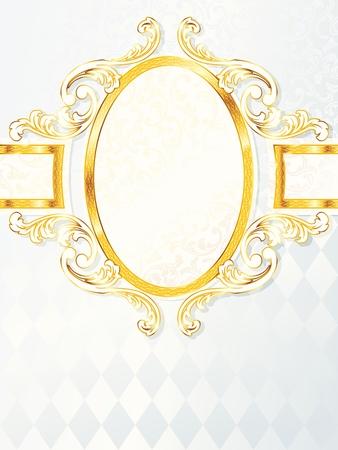 Elegant vertical white and gold wedding banner.  Vector
