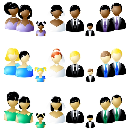 Three versions of wedding icons.  Graphics are grouped and in several layers for easy editing. The file can be scaled to any size.