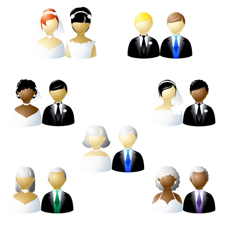 homosexuales: Conjunto de iconos de diferentes tipos de parejas de boda moderna. Se agrupan los gr�ficos y en varias capas para facilitar su edici�n. El archivo se puede escalar a cualquier tama�o.