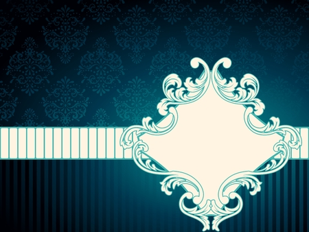 baroque border: Elegant deep blue label inspired by Rococo era designs. Graphics are grouped and in several layers for easy editing. The file can be scaled to any size.