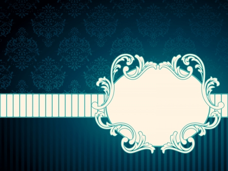 scaled: Elegant oval deep blue label inspired by Rococo era designs. Graphics are grouped and in several layers for easy editing. The file can be scaled to any size.