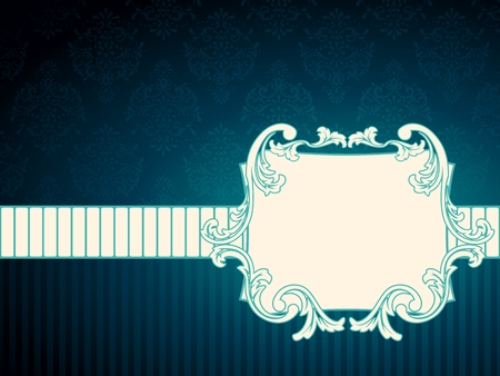 Elegant rectangular deep blue label inspired by Rococo era designs. Graphics are grouped and in several layers for easy editing. The file can be scaled to any size. Vector