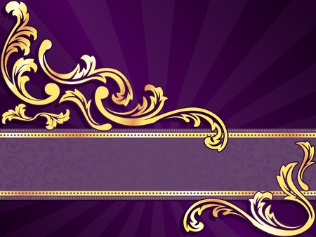 brocade: stylish horizontal purple banner with metallic swirls. Graphics are grouped and in several layers for easy editing. The file can be scaled to any size.