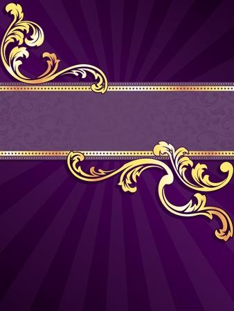 morado: banner vertical p�rpura elegante con espirales met�licos. Se agrupan los gr�ficos y en varias capas para facilitar la edici�n. El archivo se puede escalar a cualquier tama�o. Vectores