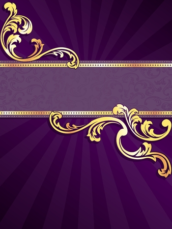 stylish vertical purple banner with metallic swirls. Graphics are grouped and in several layers for easy editing. The file can be scaled to any size.