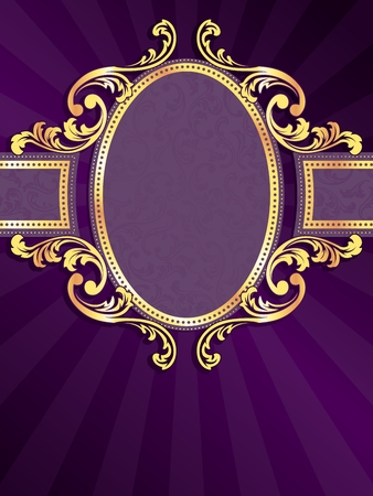 stylish vertical purple label with metallic swirls. Graphics are grouped and in several layers for easy editing. The file can be scaled to any size. Ilustracja