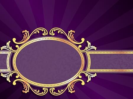 arabesque: etiqueta de color p�rpura horizontal elegante con espirales met�licos. Se agrupan los gr�ficos y en varias capas para facilitar la edici�n. El archivo se puede escalar a cualquier tama�o.