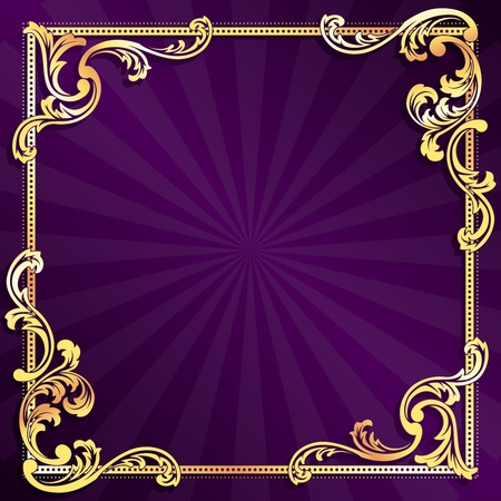 stylish square purple frame with metallic swirls. Graphics are grouped and in several layers for easy editing. The file can be scaled to any size.