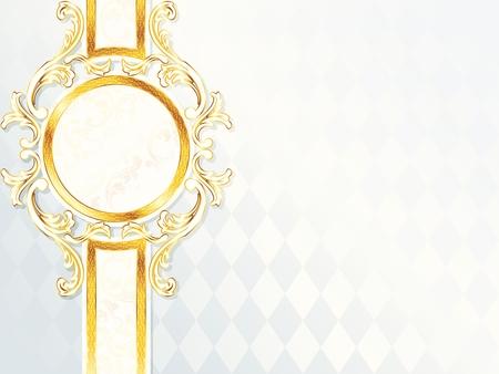 エレガントな水平白とゴールド結婚式のバナー。グラフィックをグループ化および簡単な編集のためのいくつかの層。ファイルは、任意のサイズに