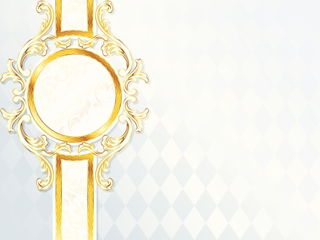 Elegant horizontal white and gold wedding banner. Graphics are grouped and in several layers for easy editing. The file can be scaled to any size. 版權商用圖片 - 6971977