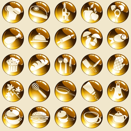 Collection of 25 round buttons with a cooking theme. Graphics are grouped and in several layers for easy editing. The file can be scaled to any size. Vector