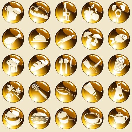 pane e vino: Insieme di 25 pulsanti rotondi con un tema di cottura. Grafica � raggruppati in diversi strati di facile montaggio. Il file pu� essere scalato di qualsiasi dimensione.