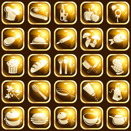 Collection of 25 square buttons with a cooking theme. Graphics are grouped and in several layers for easy editing. The file can be scaled to any size.