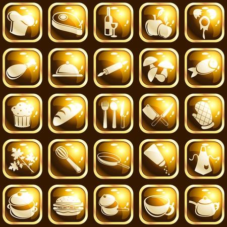 pane e vino: Insieme di 25 tasti quadrati con un tema di cottura. Grafica � raggruppati in diversi strati di facile montaggio. Il file pu� essere scalato di qualsiasi dimensione. Vettoriali
