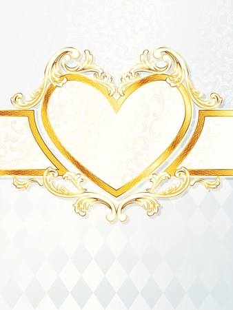 backdrop: Elegant vertical white and gold wedding banner with heart-emblem. Graphics are grouped and in several layers for easy editing. The file can be scaled to any size. Illustration