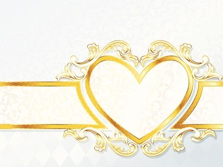 우아한 가로 흰색과 금색 배너 심장 - 엠 블 럼와 결혼식. 그래픽 쉽게 편집 할 수 있도록 여러 레이어에 그룹화됩니다. 파일은 어떤 크기로도 확장 할