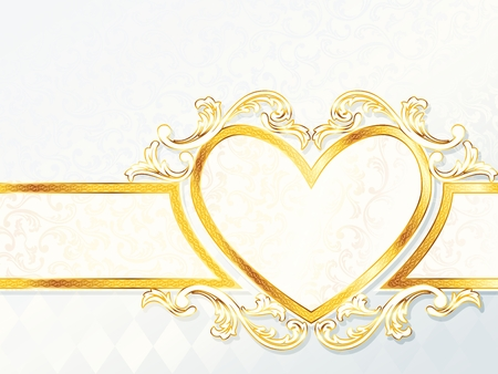 backdrop: Elegant horizontal white and gold wedding banner with heart-emblem. Graphics are grouped and in several layers for easy editing. The file can be scaled to any size. Illustration