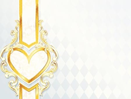 エレガントな水平白とゴールド結婚式の心エンブレムとバナー。グラフィックをグループ化および簡単な編集のためのいくつかの層。ファイルは、  イラスト・ベクター素材