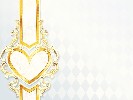 Elegant horizontal white and gold wedding banner with heart-emblem. Graphics are grouped and in several layers for easy editing. The file can be scaled to any size. Vector
