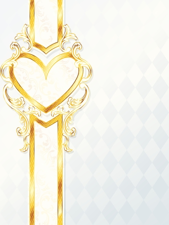 scaled: Elegant vertical white and gold wedding banner with heart-emblem. Graphics are grouped and in several layers for easy editing. The file can be scaled to any size. Illustration