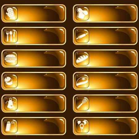 rimmed: Colecci�n de 12 botones de aro de oro con un tema de cocina. Se agrupan los gr�ficos y en varias capas para facilitar la edici�n. El archivo se puede escalar a cualquier tama�o.
