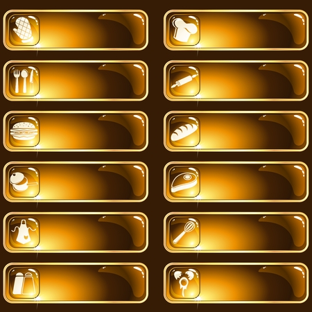 Collection of 12 gold rimmed buttons with a cooking theme. Graphics are grouped and in several layers for easy editing. The file can be scaled to any size.