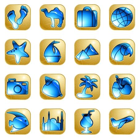 Colección de 16 iconos de arenisca y agua con un tema de viajes. Se agrupan los gráficos y en varias capas para facilitar su edición. El archivo se puede escalar a cualquier tamaño.