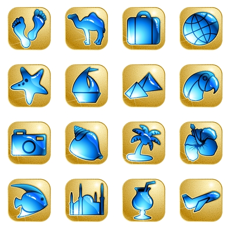 Collection of 16 sandstone and water icons with a travel theme. Graphics are grouped and in several layers for easy editing. The file can be scaled to any size.