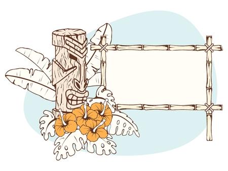 ティキ像とクールなトーンでレトロなハワイ熱帯バナー。グラフィックをグループ化および簡単な編集のためのいくつかの層。ファイルは、任意の