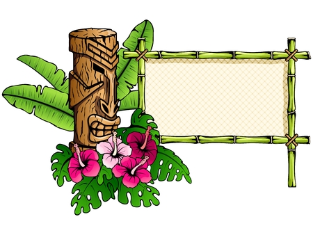 hawaiian culture: Colorful Hawaiian tropical banner with a tiki statue. Graphics are grouped and in several layers for easy editing. The file can be scaled to any size.