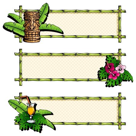 폴리네시아: Three colorful, Hawaiian tropical banners. Graphics are grouped and in several layers for easy editing. The file can be scaled to any size.