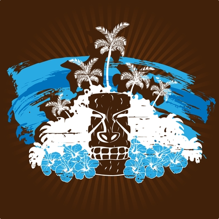 Grunge style tropical illustration in cool tones with a tiki statue. Graphics are grouped and in several layers for easy editing. The file can be scaled to any size. Illustration