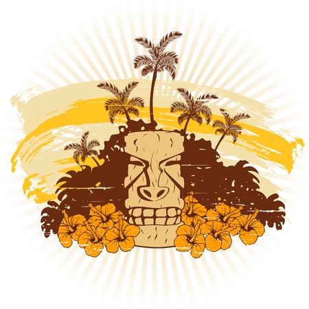 Grunge style tropical illustration in warm tones with a tiki statue. Graphics are grouped and in several layers for easy editing. The file can be scaled to any size.