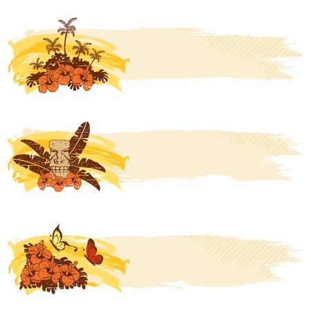 Tres grungy retro tropicales pancartas en tonos cálidos. Se agrupan los gráficos y en varias capas para facilitar su edición. El archivo se puede escalar a cualquier tamaño.  Ilustración de vector