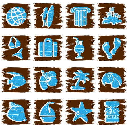 Set of 16 tropical grunge style buttons in cool tones. Graphics are grouped and in several layers for easy editing. The file can be scaled to any size. Vettoriali
