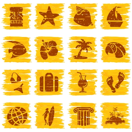 hawaiian tiki: Set of 16 tropical grunge style buttons in sunny colors. Graphics are grouped and in several layers for easy editing. The file can be scaled to any size.