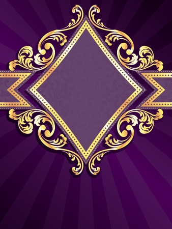 Vertical stylish purple banner with diamond-shape and metallic swirls. Graphics are grouped and in several layers for easy editing. The file can be scaled to any size. Vectores