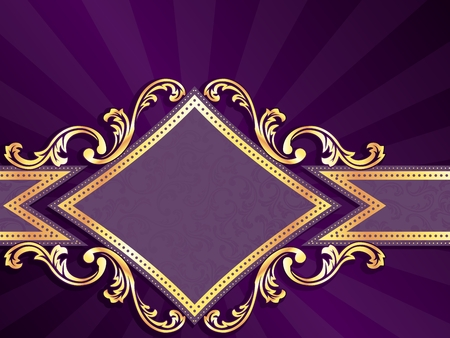 brocade: Horizontal stylish purple banner with diamond-shape and metallic swirls. Graphics are grouped and in several layers for easy editing. The file can be scaled to any size.