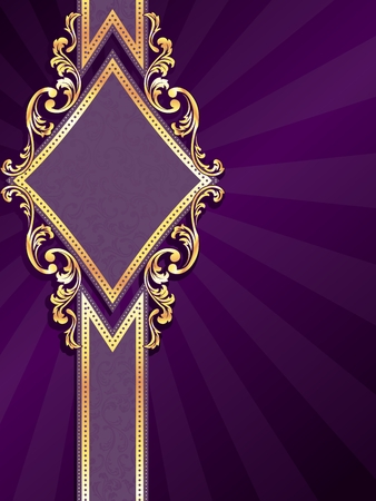 Vertical stylish purple banner with diamond-shape and metallic swirls. Graphics are grouped and in several layers for easy editing. The file can be scaled to any size. Ilustração