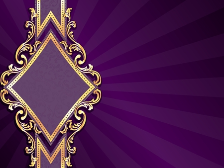 royal background: Horizontal stylish purple banner with diamond-shape and metallic swirls. Graphics are grouped and in several layers for easy editing. The file can be scaled to any size.