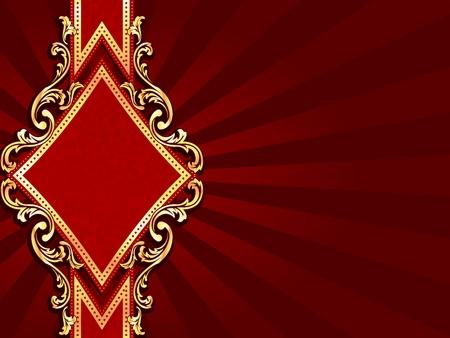 다이아몬드 모양 및 금속 소용돌이 모양으로 가로 세련 된 빨간색 배너. 그래픽 쉽게 편집 할 수 있도록 여러 레이어에 그룹화됩니다. 파일은 어떤 크