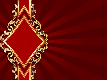 baroque: Horizontal stylish red banner with diamond-shape and metallic swirls. Graphics are grouped and in several layers for easy editing. The file can be scaled to any size.