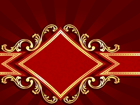 Horizontal stylish red banner with diamond-shape and metallic swirls. Graphics are grouped and in several layers for easy editing. The file can be scaled to any size. Vector