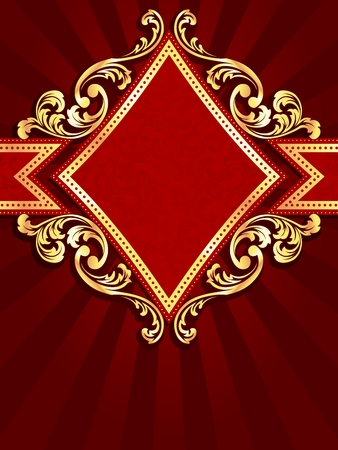 Vertical stylish red banner with diamond-shape and metallic swirls. Graphics are grouped and in several layers for easy editing. The file can be scaled to any size. Ilustracja
