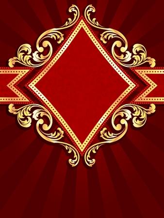 Verticale stijlvolle rode vaandel met ruitvorm en metalen krullen. Afbeeldingen worden gegroepeerd en in verschillende lagen voor eenvoudige bewerking. Het bestand kan worden geschaald naar elk formaat.