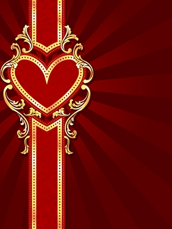baroque border: stylish vertical red banner with heart-shape and metallic swirls. Graphics are grouped and in several layers for easy editing. The file can be scaled to any size. Illustration